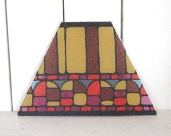 34% Off Sale - Faux Stained Glass - 1960s Retro Glass Piece - Vintage Trapezoid Glass - DIY Repurposing Brown Yellow Mod Print Glass