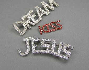 Rhinestone Brooch Lot, Jesus, Dream, Kiss, Prong Set, Red, Clear, Vintage Brooch Lot, Under 20 Dollars, Stocking Stuffer, Assemblage Supply