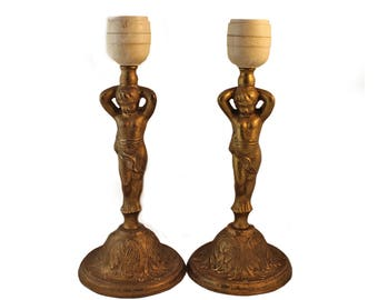 Antique Pair of Cherubs Lamps - Cherub Table Lamps