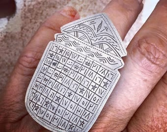 Tuareg Old SILVER Protection Marabout Ring with Tifinagh signs, Inner Diameter  1.8 cm  Size Us 7 1/2