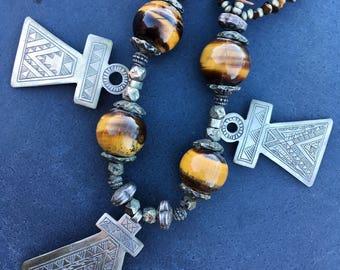 Berber Tigereye & 3 x Silver Pendants Necklace