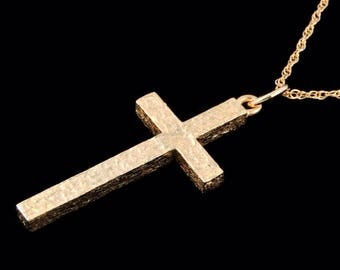 14k Yellow Gold Classic Cross Pendant or Necklace (Optional Chain)