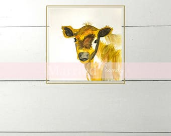Calf Watercolor Print