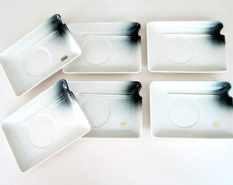 Mid Century Modern Rectangular Appetizer Plates // Senegal Fine China Set of 6 Hors d' Oeuvres Dishes