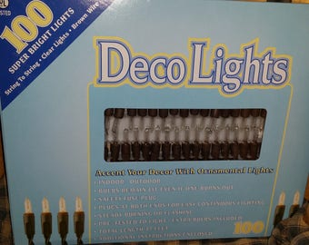 100 count Brown Wire Light Strand String Set, Clear Bulbs, LT100-5, Indoor/Outdoor
