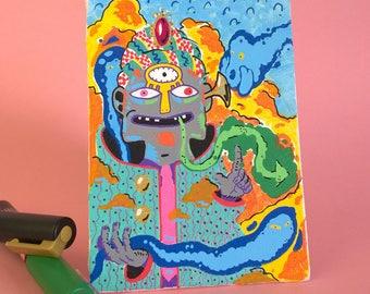 spiritist, Acrylic on board canvas, 10 x 15 cm