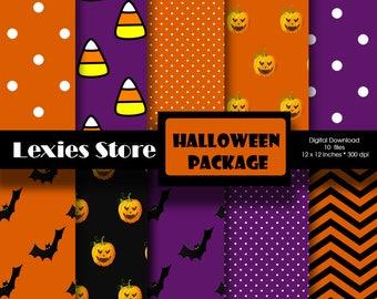 ON SALE!! Halloween Package October Scrapbook Digital Paper background- Pumpkin, bats, candy corn, Orange, black, purple