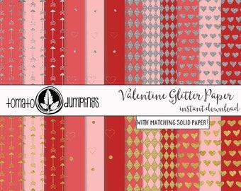 Valentine Digital Papers, Glitter Valentine Paper, Red and Pink Digital Paper, Digital Download
