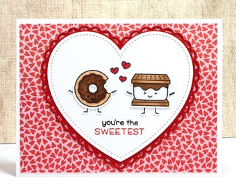 Sweet Card- You're the Sweetest- Donut Card- Smore Card- Valentines Card- Cute Valentines Card- Friend Card