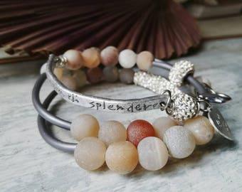 Handstamped bracelet, dedication bracelet, crystal Beaded bracelet, personalized jewelry, multistrand bracelet, boho bracelet, zen bracelet