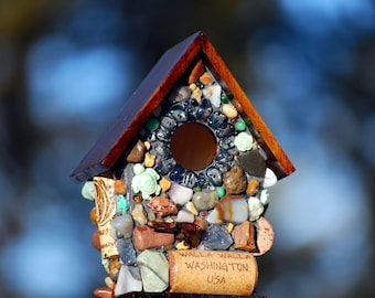 Miniature garden birdhouse with A Sea Turtle and green stones,Easter Idea,wine corks and Whimsical ~garden decor gift for her