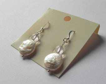 Freshwater cultured pearl coin and light amethyst gemstone drop earrings
