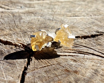 Citrine Studs - Stud Earrings - Gemstone Studs - November Birthstone Earrings - Rough Gemstone Earrings - Sterling Silver - 13th Anniversary