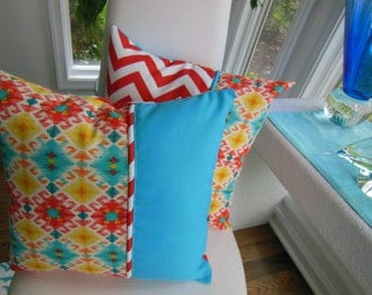 Outdoor Pillow - Ikat Pillow - Screen Porch Pillow - Turquoise Pillow - Orange Pillow - Aztec Pillow - Orange Chevron Pillow - Patio Pillow