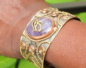 Men's Amethyst Eye of Horus Bracelet,  Ancient Egyptian Men's Cuff Bracelet, Men's Gift, Men's Spiritual Jewelry, Amethyst Cuff Bracelet