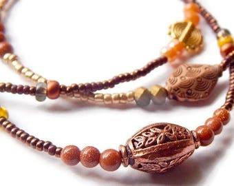 Africa Waist Beads, Chocolate Waist Beads, Honey-Copper Waist Chain,  Gold  Stone Waist Beads, Gold-Brown Belly Beads, Gemstone Waist Beads