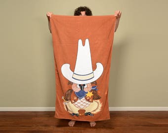 "vintage 70s owl towel sheriff cowboy sombrero 1970 cartoon beach towel Ames XL cotton towel old west western 56"" x 35"""