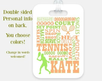kids Luggage Tag / kids Backpack tag / tennis bag tag / Personalized Bag Tag / Tennis coach gift / tennis gift