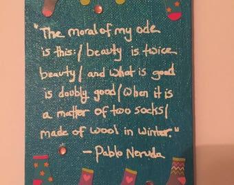 Neruda Socks Canvas