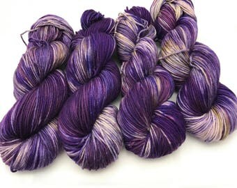 Trevor Morgan DK, Hand Dyed Yarn, DK weight, Superwash Merino, Number 3, 8 ply, Hand dyed, Light Worsted, Purple Is My Favorite Color
