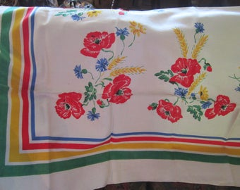 """vintage tablecloth NWT linen poppies 70 by 52"""" gorgeous unused"""