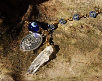 Surfer Car Charms. Safe Travel Protection. St Christopher Medal. Clear Quartz Crystal. Blue Swarovski Crystal Bead. Evil Eye. Back to School