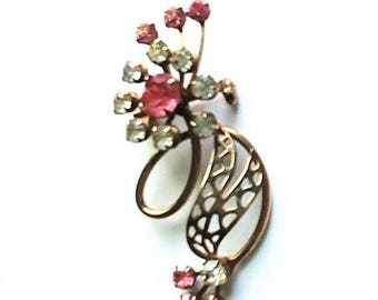 Pin Brooch Pink and Clear Rhinestones Gold Tone Vintage Wedding Fashion Jewelry Jewellery Accessories Gift Guide Women