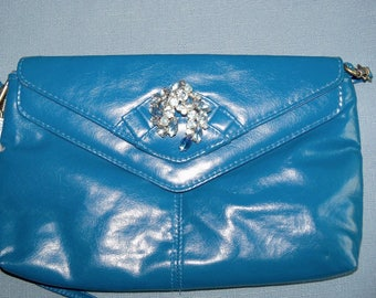 Purse Blue Redesigned Clutch with Vintage Blue Rhinestone Brooch Wedding Bridal Party Prom Gift Guide for Her Women