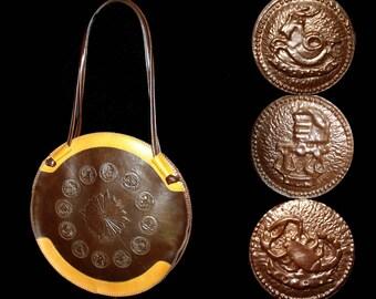 Vintage 1960s Purse .  60s  .  Zodiac Signs  .  Shoulder Bag   .  Leather   .  Embossed  .  Handbag