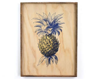 Framed Island Pineapple Silkscreen on Wood Tropical Decor Island Wall Decor