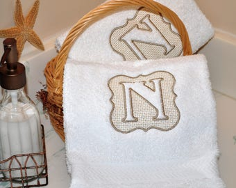 Embossed Hand Towels / Monogrammed Initial Towels / Personalized Hand Towel Pair / Set of Two Bath Towels / White Guest Towel / Wedding Gift