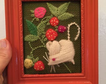 Framed Mouse and Strawberries Crewel 1970's Retro Art Needlework