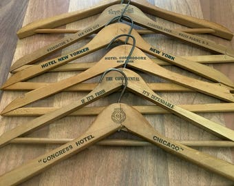 Wooden hotel advertising hangers - 6 vintage wooden hangers from NYC, Chicago, Washington DC,
