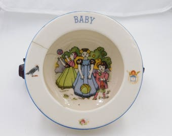 Antique Czechoslovakian Very Colorful Baby Bowl or Dish with Nursery Rhymes Box A1