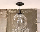 Semiflush Lighting with Clear Glass Globe - 10 Inch