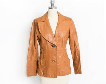 Vintage 1970s Leather Jacket - Sunburst Brown Cropped 70s - Small S