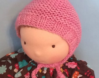 "Knit Hat ""Le Fig"" for 16-inch Waldorf Doll  Extrafine Merino **Cotton Candy**"