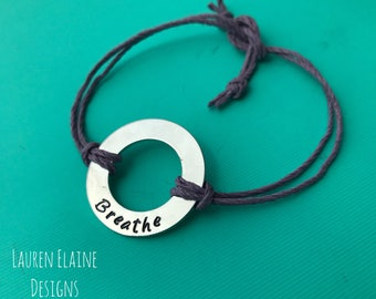 Custom Hand Stamped Aluminum Washer Hemp Bracelet- Choose Color and Font