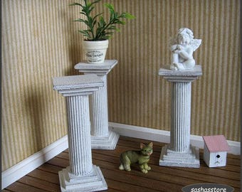 Shabby chic dollhouse pillar, plant pedestal, 12th scale shabby cottage chic miniature, fairy garden decoration