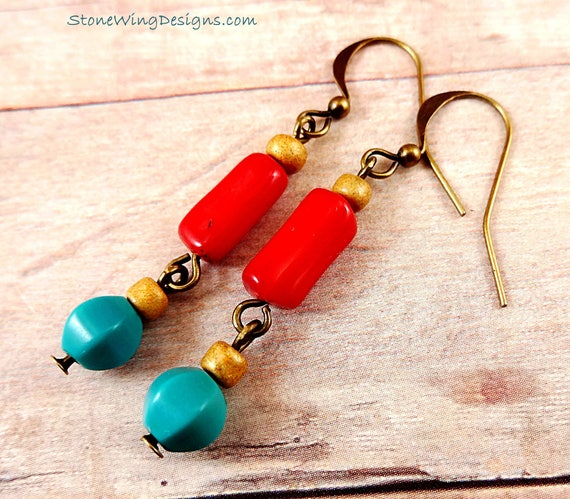 Rustic Boho Red Coral and Turquoise Earrings