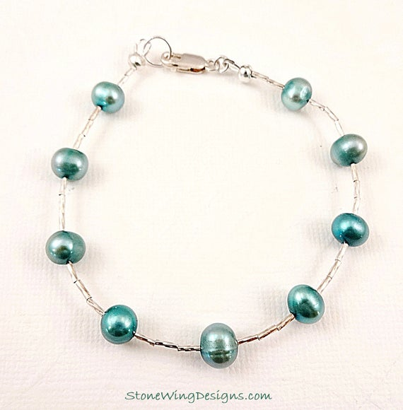Minimalist Sterling Silver and Green Pearl Bracelet