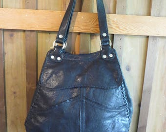 Lucky Brand Black Leather Hobo Shoulder Bag Large