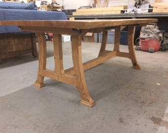Custom Dining Table, Somewhere Between Traditional And Modern Base Style