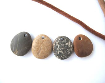 Rock Pendants Top Drilled Beach Stones Mediterranean River Stone Beads Natural Stone DIY Jewellery Creme Peach SMOOTH PENDANTS 25-27 mm