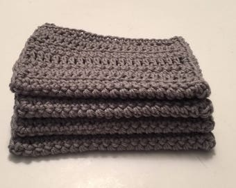 4 large dish cloths | dish rags | wash cloths made of 100% super soft Dishie cotton yarn Silver