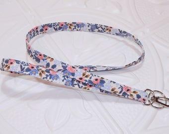 Lanyard - Id Badge Holder - Id Holder - Key Lanyard - Teacher Lanyard - Fabric Lanyard - Keychain - Periwinkle Blue Floral Lanyard
