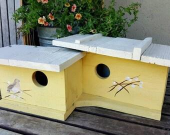 modern birdhouse,mid century modern birdhouse,contemporary bird houses,hand painted bird house,upcycled,garden,modern decor,spring decor