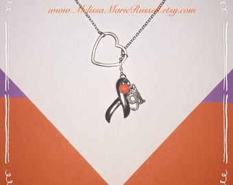 FUNDRAISER FOR VICTIMS of Route 91, Las Vegas, Lariat Necklace with Ribbon, Orange Bead, #91 & Heart, handmade jewelry, country