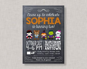 Halloween Birthday Invitation, Halloween Birthday Party, Costume Party Invitation