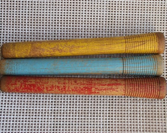 3 Colored Wood Spools, Colored Wooden String Spools, Sewing